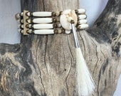 Bone hair pipe choker, white turquoise, horse hair, 4 row, native american inspired, pow wow regalia, tan leather, regalia necklace