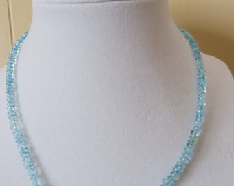 Blue topaz and blue fire agate beaded necklace
