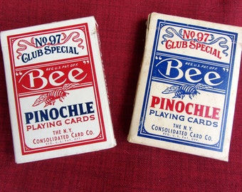 Vintage LOT 2 Decks Bee PINOCHLE Playing Cards The N.Y. Consolidated Card Do. 1930s 1940s Playing Card Tax Stamp