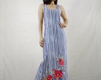 Sleeveless Scoop Neck Dark Blue & White Stripe Froral Printed Cotton Jersey Maxi Dress Women Sun Dress Fit From Size 4 To Size8
