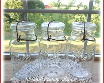3 Clear BALL IDEAL Quart Jars with Wire Handles