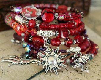 Beaded Memory Wire spiral Wrap Bracelet - Red - Wrap around bracelet - Coil bracelet