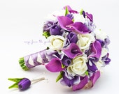 Reserved - Real Touch Purple Callas Purple Tulips White Roses Bridal Bouquet Bridesmaids Bouquets Boutonnieres Corsages