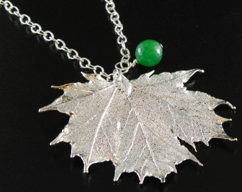 Silver Plated Maple Leaf Pendant, 30 inch Long Chain Necklace with Green Agate