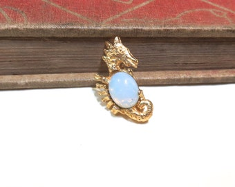 Vintage Gold Plated Seahorse Brooch Pin with Milky White Harlequin Opal - Pink - New old stock Sea Horse