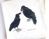 Watercolor Ravens Tea Towel, Flour sack kitchen towel