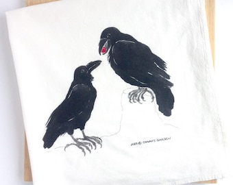 Watercolor Ravens Tea Towel, Flour sack kitchen towel