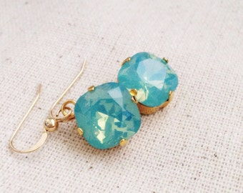 Mint Earrings in Gold, Green Opal Earrings, Cushion, Mint Bridesmaid Earrings, Light Green Wedding Earrings, Swarovski Crystal, Gold Filled