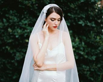 Janae, Juliet Cap Veil, Lace Veil, Beaded Cap veil, 1920s Veil, Cap Veil, Alencon Lace, Kate Moss Veil, Ivory Veil, Cathedral Veil