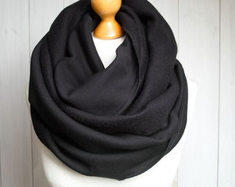 Infinity Scarf, hooded infinity scarf, BLACK jersey infinity scarf, oversized scarf, cozy chunky scarf, gift for her, gift ideas