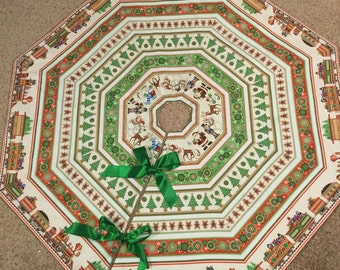 LARGE Trains and Christmas Trees Christmas Tree Skirt IN STOCK