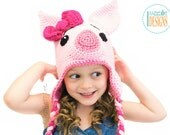 PATTERN Pinky Piggy  Hat Crochet PDF Pattern