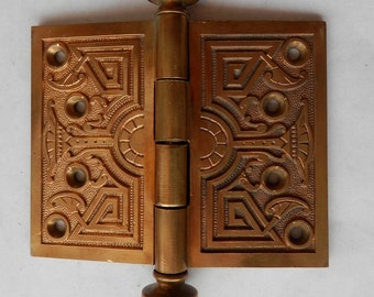 """one great antique cast bronze 4"""" X 5"""" architectural hinge with fancy steeple ends"""