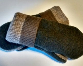 Etsy Men's Wool Mittens, chocolate brown, pine green, tweed, striped, recycled sweaters, felted wool mittens, etsy sweater mittens