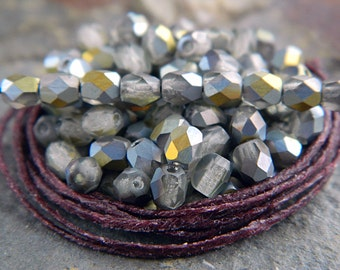 4mm Matte Beads, Czech Glass Fire Polished beads, Faceted Beads, Matte light grey with matte Marea (100pcs) NEW