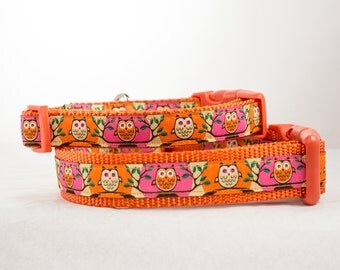 Orange Pink Owls Dog Collar - 3/4 or 1 inch wide - owl dog collar - orange dog collar - pink dog collar - cute dog collar - fall dog collar