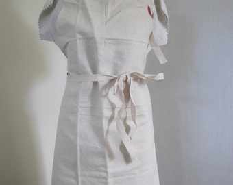 Huge sturdy French baker's apron.  Herringbone weave linen metis.  Unused.  Work apron.