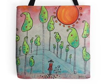 A Forest of Her Making, Original Art Girl in Forest 18 x 18 Tote Bag
