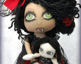 On SaLe Vampire KORA and her doll Thana ooak Primitive folk art doll big eye collectable Home decor OOAk Gothic Halloween