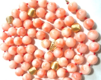 "Pink Angel Skin Coral Necklace Rare Vintage Blush Pink Genuine Angel Skin Coral Beads w 14k Beads 14k Gold Fish Hook Clasp 24"" Long 8.5 mm"