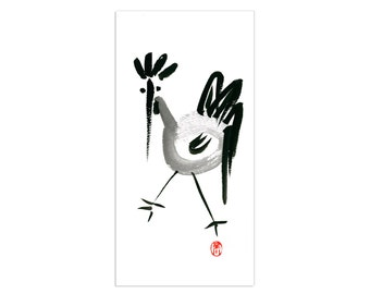 Rooster, Chinese Zodiac, Year of the Rooster, Original Zen Sumi ink Brush Painting, zen decor, child's nursery art, japan style, chicken