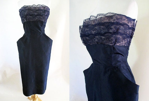 Stunning 1950's Midnight Blue Silk Satin Strapless Cocktail Party Dress Hourglass Pinup Girl Rockabilly Vintage Chic Size-Small