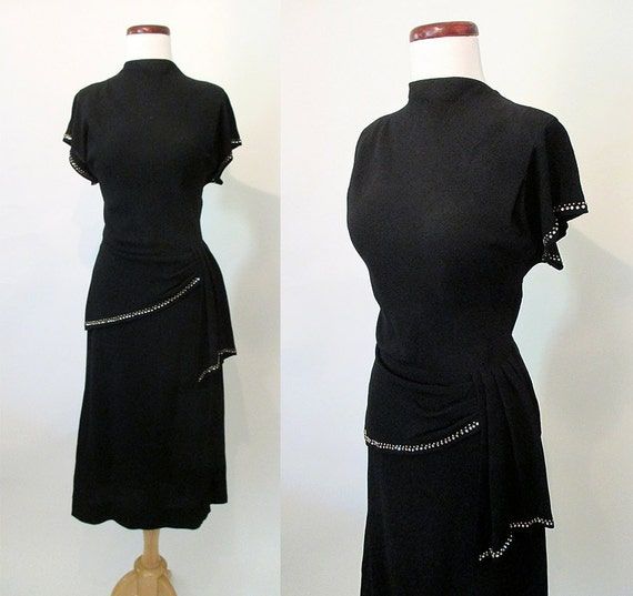 Chic 1940's Cocktail Dress w/ Rhinestones, Metal Stud Trim & Dramatic Sash Hollywood Glamour Joan Crawford Film Noir Starlet Size-Medium