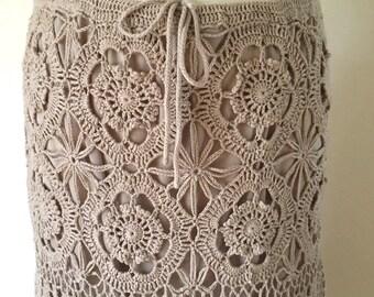 Boho Crochet Skirt Midi Length Drawstring Waist Crochet Dress