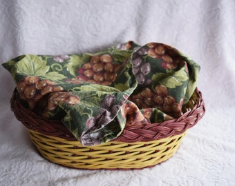 WICKER BREAD BASKET Bun Warmer Dinner Roll Microwave Heater Pouch Cotton Grape Purple Green Fabric Cloth Oval Server Burgundy Table Server