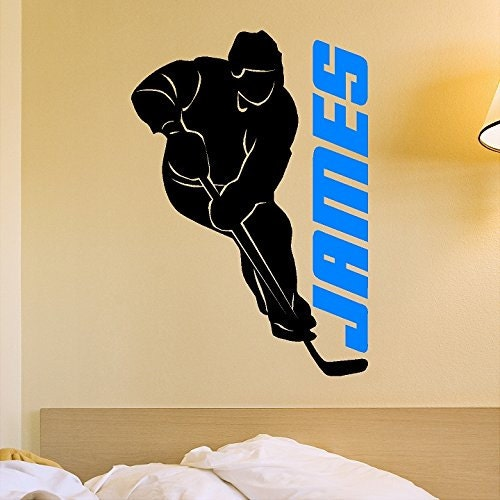 Hockey Wall Decal Large Decal Custom Name Decal Boys: Custom Personalized Hockey Player Decal Removable Hockey Wall