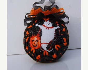 Christmas In July Sale Ghost/Devil/Witch/ Quilted Ornament/Halloween/Orange and Black/Decoration