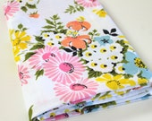 Vintage Bed Sheet Fabric vintage reclaimed bed sheet bed linen fabric retro coral pink blue yellow floral bunches spring summer fabric 3.5y