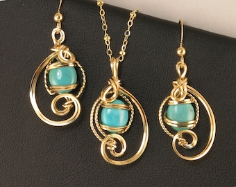 Turquoise Gemstone Gold Jewelry Gift Set, Wire Art Sculpture Aqua Blue Turquoise Necklace Set