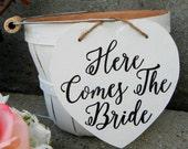Here Comes The Bride Flower Girl Basket Rustic Shabby Chic Bucket Vintage Wedding Modern Black And White Flower Girl Basket Calligraphy