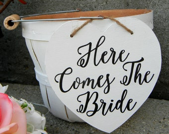 Here Comes The Bride Flower Girl Basket Rustic Shabby Chic Bucket Vintage Wedding Modern Black And White Flower Girl Basket Calligraphy