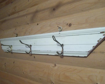 Handmade Coat Rack, Reclaimed Wood, Door Molding Trim, Architectural Salvage, Towel Rack, Entryway, Hallway