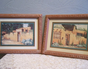 Vintage Southwest Prints, Southwestern Wall Decor, 2,  Home Interiors Pictures, Adobe House, Pueblo, Hacienda,