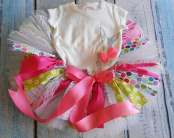 Easter Rag Tutu Dress Ready To Ship Size 12 months Easter Rag Tutu Easter Rag Tutu Outfit