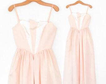 80s Princess Gown * 1980s Evening Dress * Vintage Peach Party Dress * XS