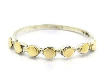 Circles ring with gold and silver, petite band