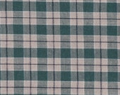 """Green ~ Tan ~ Brown Plaid Fabric ~ 11"""" x 40"""" Remnant ~ Material 4 Scrap Quilt Piecing - Fun Sewing Projects  Inventory # PL 17"""