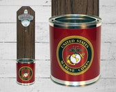 Boyfriend Gift US Marines Corps Wall Mounted Bottle Opener with Military Tin Can Cap Catcher - Beer Bottle Opener - Gift for Guy