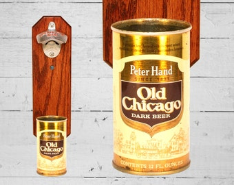 Unique Gift for Guy Peter Hand Old Chicago Dark Beer - Wall Mounted Bottle Opener with Vintage Beer Can Cap Catcher