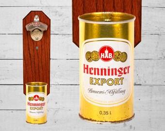 Henninger Wall Mounted Bottle Opener with Vintage German Beer Can Cap Catcher -  Groomsmen Gift