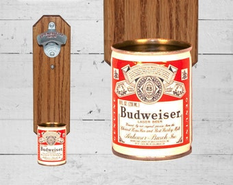 Beer Gift for Guy Wall Mounted Bottle Opener with Vintage Mini Budweiser Beer Can Cap Catcher - Gift for Bud and Groomsmen