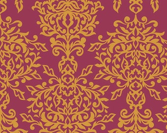 Botanique Damask in Berry by Riley Blake Designs - your choice of cut