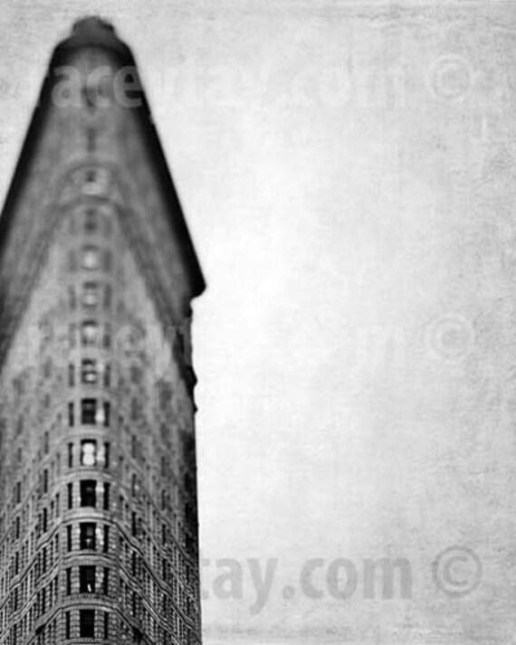 New York City Print, Flatiron Building, Black and White New York Photography, Architecture, Art Deco, Triangulation