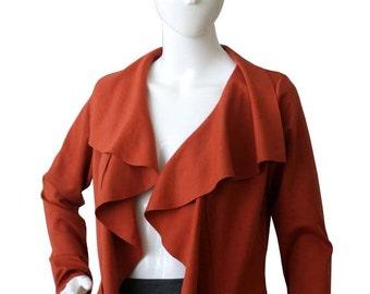 Womens Jacket, Elegant jacket with ruffles, Custom Long Sleeve Cardigan, Terracotta Jacket, Orange jacket with long sleeve, Womens clothing