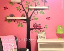 Owls Tree Wall Decal, Shelves Tree Wall Decal Nursery Decal Wall Sticker, Shelving Tree and Owls Wall Decal, Owls Tree Decal Sticker