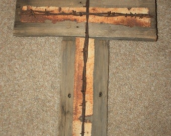 Rustic Wood and Barbed Wire Cross Crucifix Reclaimed Recycled